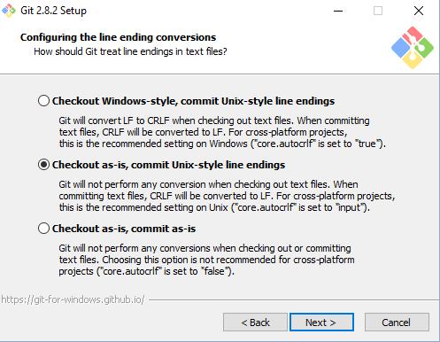 Выбор изменения символов окончания строк при установке Git